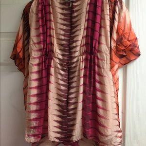 Antik Batik Tops - Antik batik silk ruffle top XS